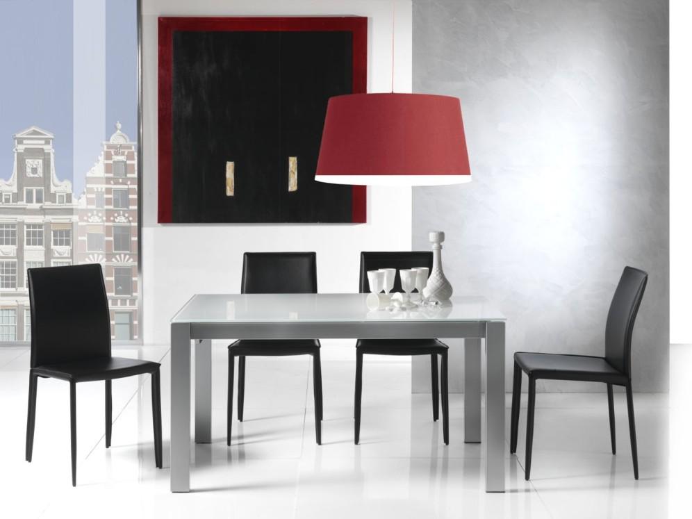 Tavolo allungabile in cristallo design soggiorno cucina for Tavolo allungabile telescopico