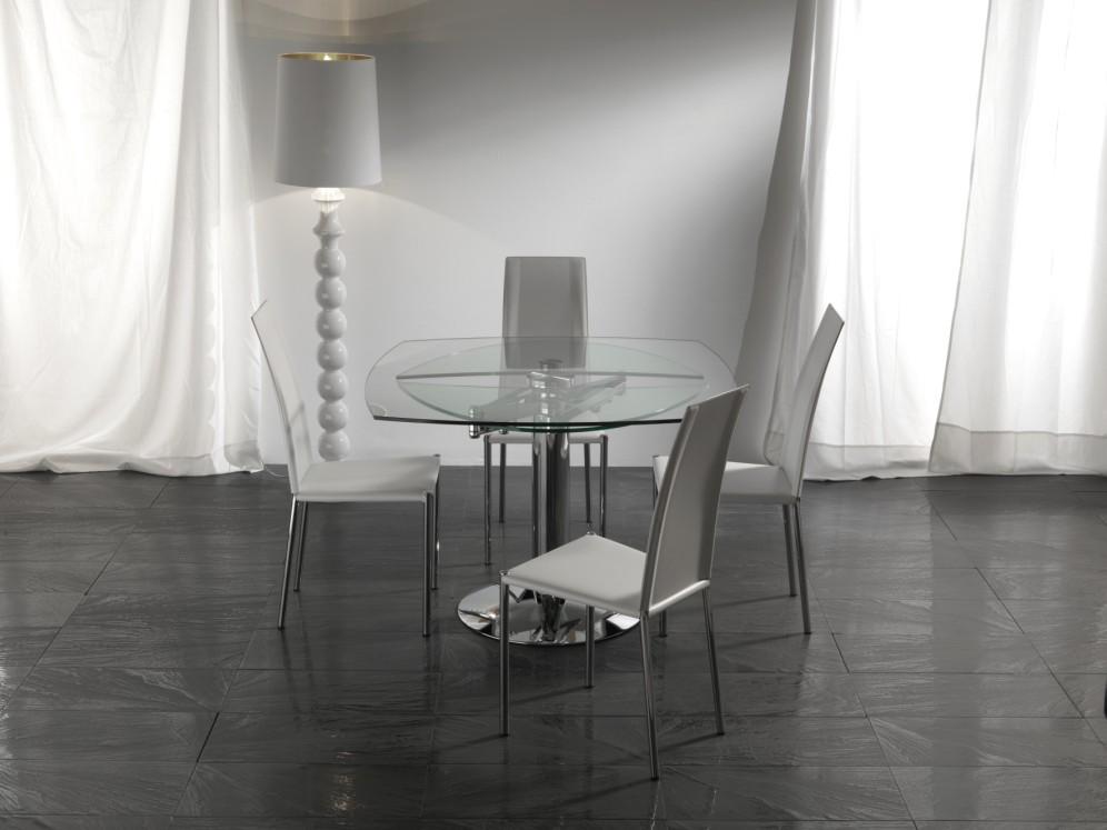 Tavolo allungabile cristallo vetro design soggiorno cucina for Tavoli da soggiorno in cristallo