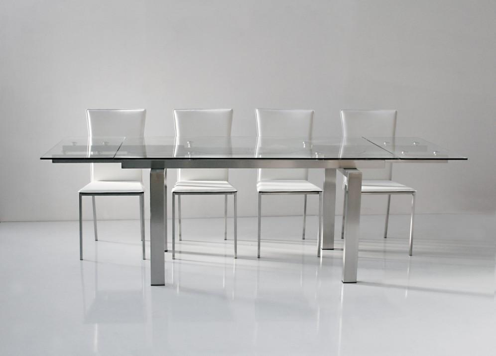 Tavolo allungabile cristallo vetro design soggiorno cucina for Tavolo cristallo allungabile usato