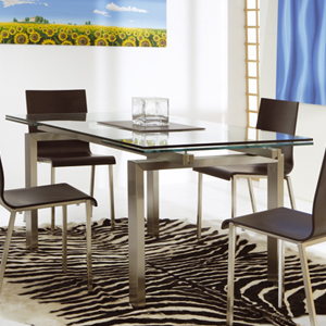 ausziehbarer tisch kristall glas design wohnzimmer k che salon ebay. Black Bedroom Furniture Sets. Home Design Ideas