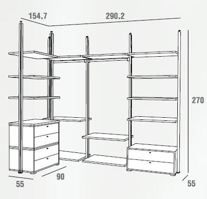 Cabina armadio a soffitto con cassettiera emporio3 for Misure cabina armadio