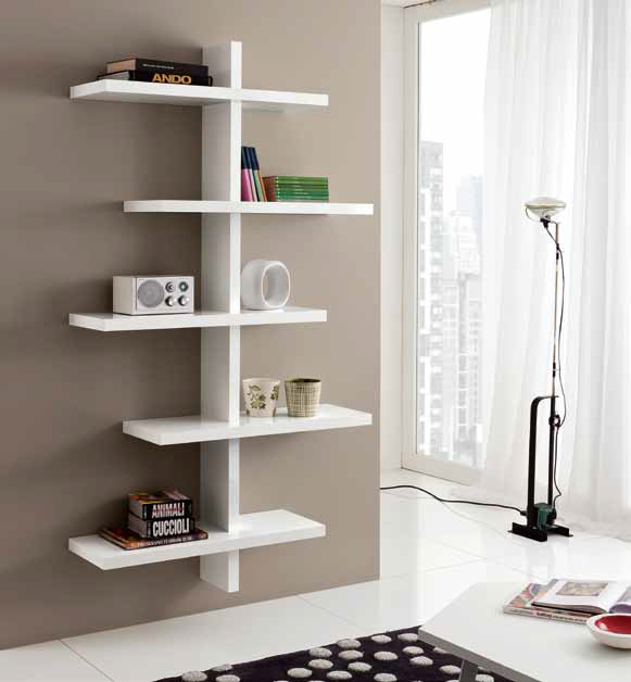 Libreria mensole a parete lucida moderna design salotto - Mensole cucina moderna ...