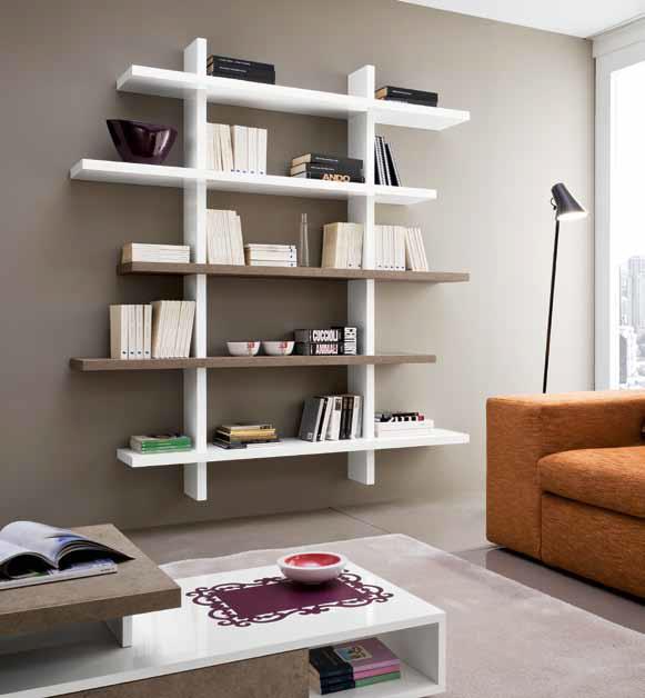Libreria mensole a parete lucida moderna design salotto for Soggiorno design