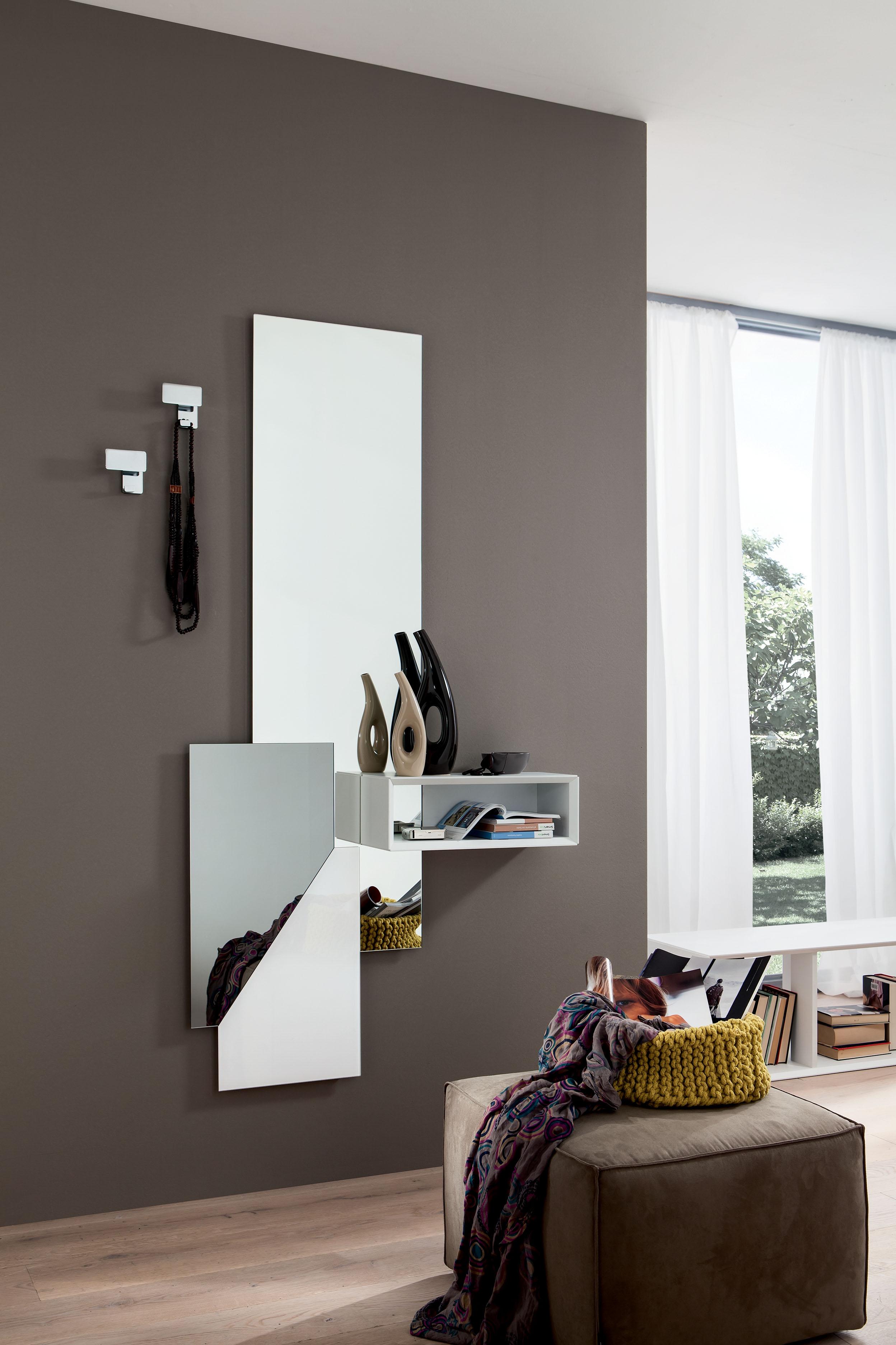 Specchiera ingresso appendiabiti con mensole design salotto ...
