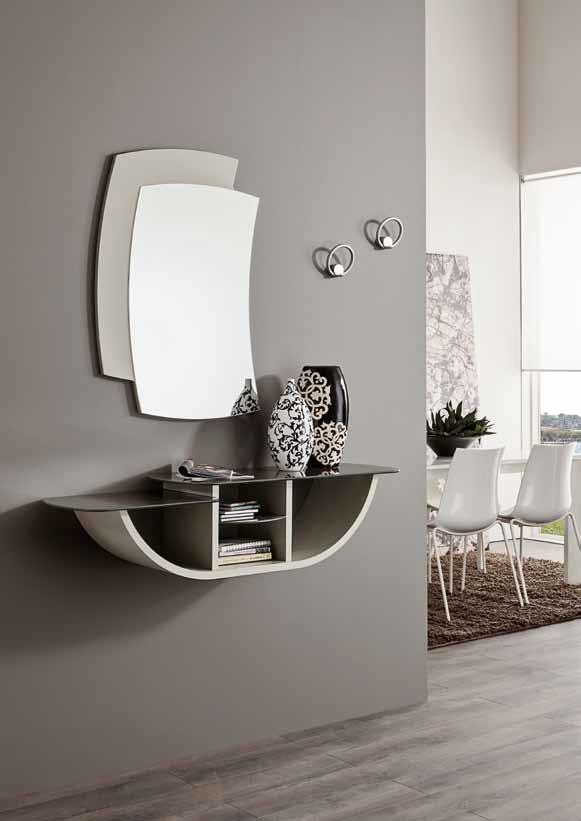 Specchiera ingresso moderno con mensole design salotto for Mensola bianca lucida