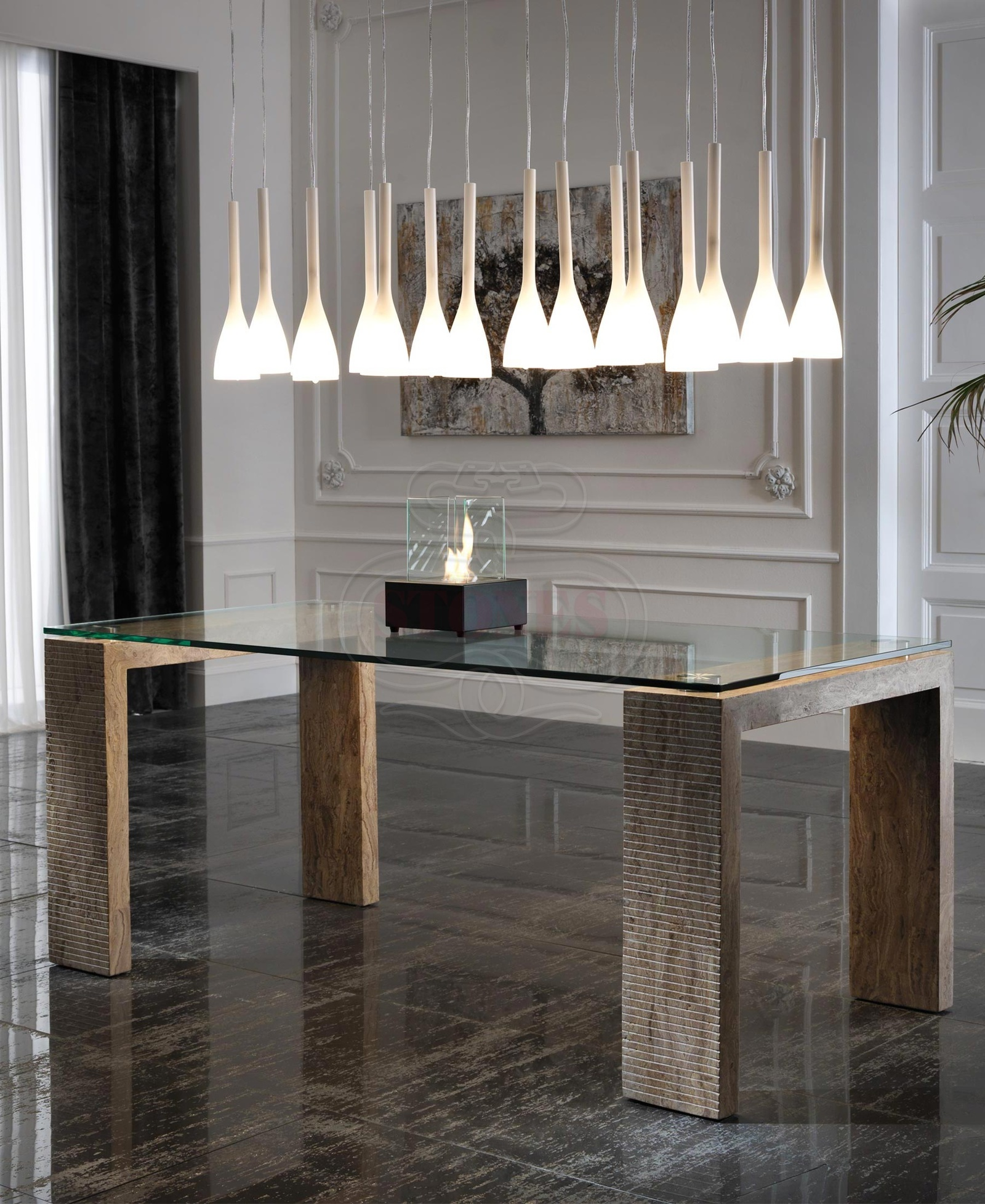 Fixed glass crystal table modern design living sitting for Glass tavoli cristallo