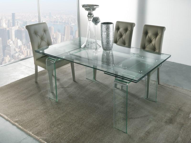 Tavolo allungabile in cristallo design soggiorno salotto cucina vetro ebay - Tavoli in cristallo prezzi ...