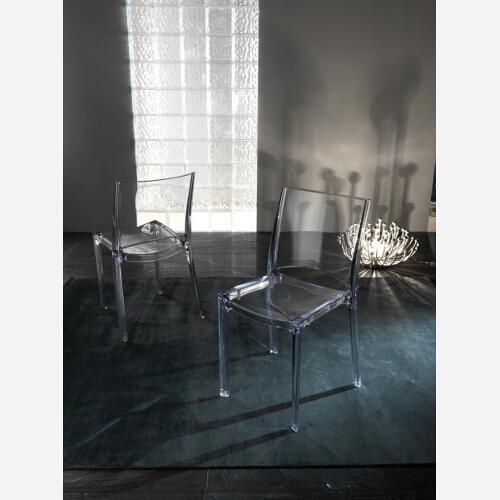 Set 4 sedie impilabili in policarbonato trasparente