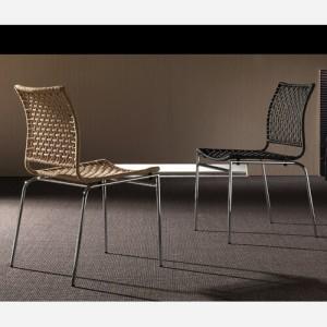 Set 4 sedie impilabili in corda di juta