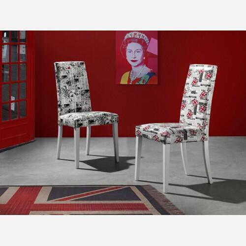 Set 4 Sedie Pop Art in faggio laccato bianco ed ecopelle