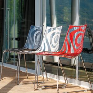 Set 4 sedie in policarbonato bicolore