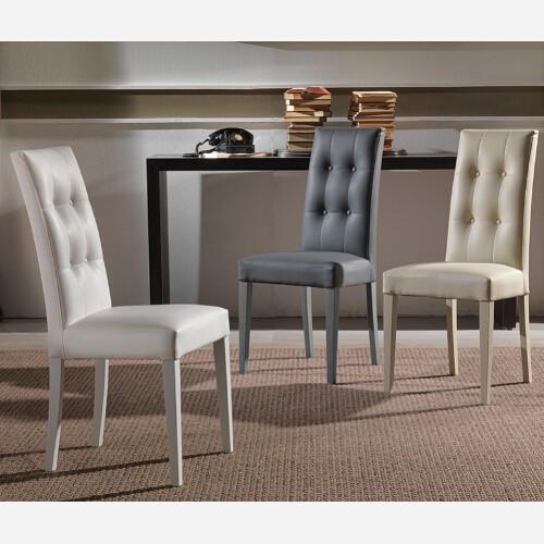 Set 4 sedie in legno ed ecopelle