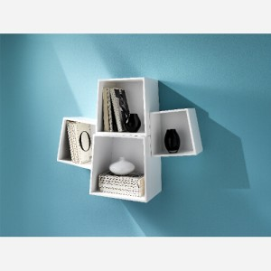 Set 4 cubi da parete Rocket White - TM203