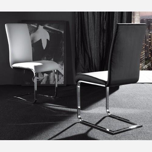 Set 4 sedie in metallo cromato ed ecopelle