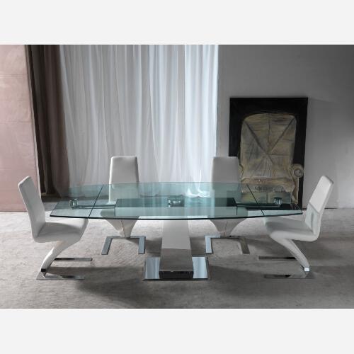 Tavolo in cristallo e acciaio inox sg294 - Mobiletti in vetro ...