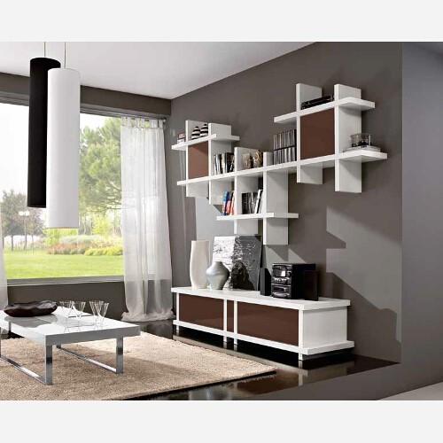 Mobile salotto con ante in vetro - Libreria - Mensole
