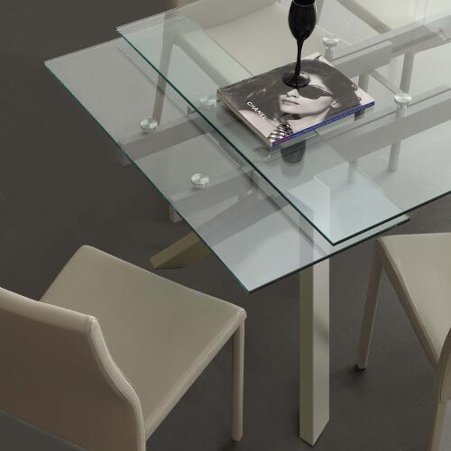 Tavolo da cucina allungabile tokio tortora 1 - Mobiletti in vetro ...