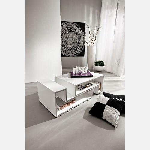 Tavolino contenitore moderno bianco lucido