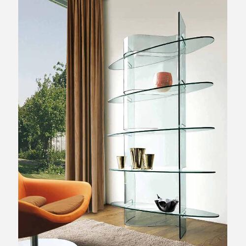 Libreria moderna in vetro slim emporio3 arredamenti - Mobiletti in vetro ...
