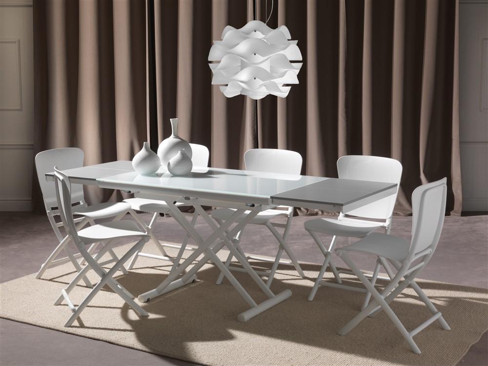 tavolino trasformabile in cristallo bianco e gambe bianche happening