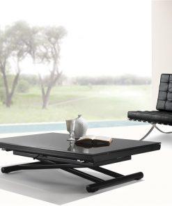 tavolino trasformabile in cristallo nero happening