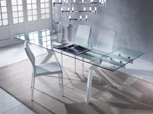tavolo da cucina allungabile bianco in vetro tokio