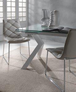 tavolo da cucina allungabile bianco in vetro tokio dettaglio
