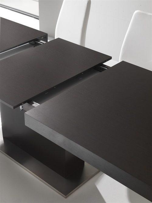 tavolo da cucina allungabile gamba centrale in legno wengè domus 1