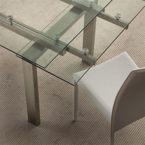 tavolo da cucina allungabile in vetro new york dettaglio