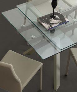 tavolo da cucina allungabile tortora in vetro tokio 1