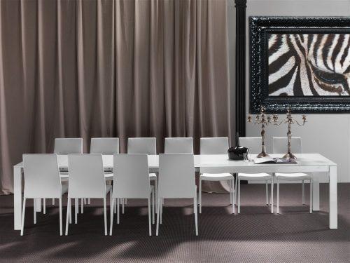 tavolo da cucina in vetro twelve aperto