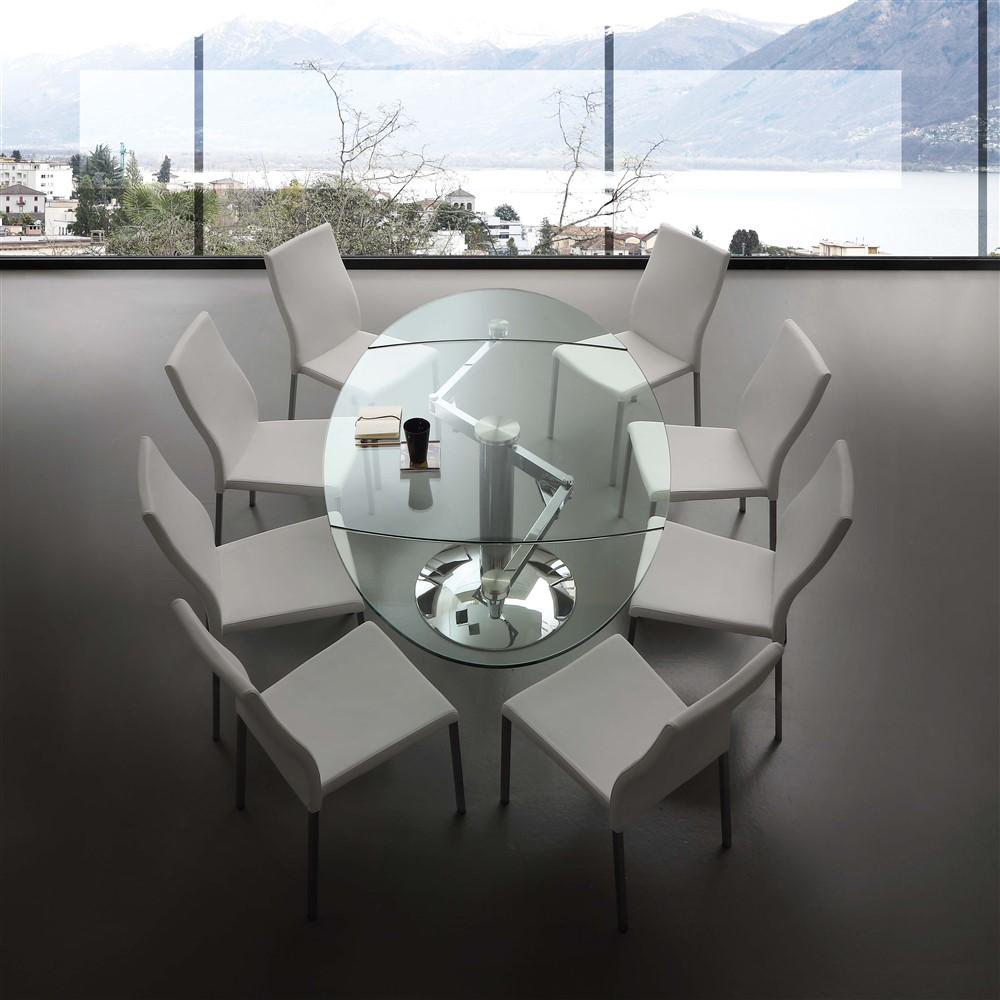 Tavolo allungabile in vetro dent emporio3 arredamenti for Tavolo ovale cristallo allungabile