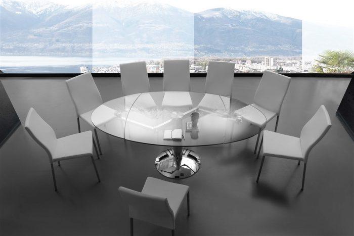 tavolo da cucina ovale allungabile in vetro ellisse
