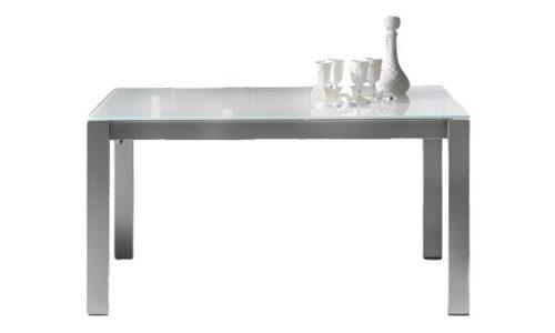 tavolo da pranzo allungabile in vetro bianco