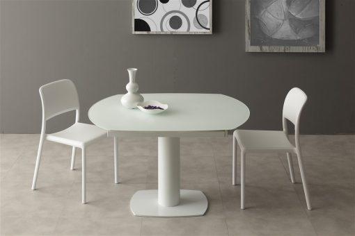 tavolo da cucina allungabile in vetro prometeus bianco