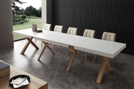 tavolo da cucina in legno allungabile bianco aperto