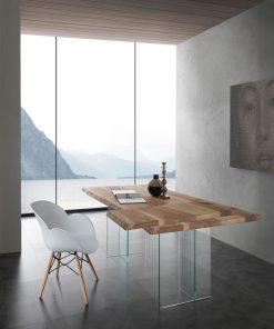 tavolo fisso in legno e vetro bio