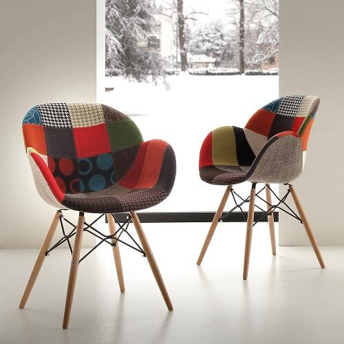 sedie in legno imbottite patchwork