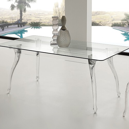 tavolo in cristallo e policarbonato