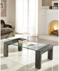 tavolino rettangolare cristallo e pietra 1