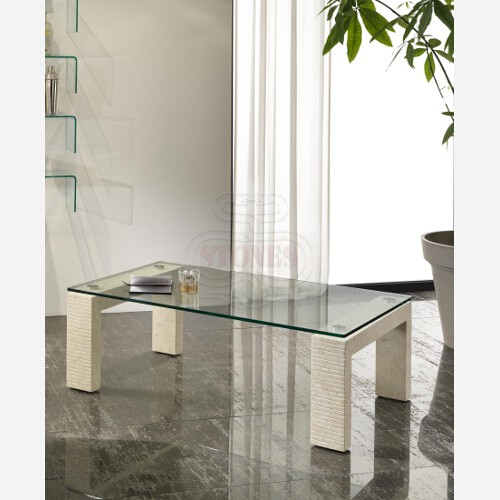 tavolino rettangolare cristallo e pietra