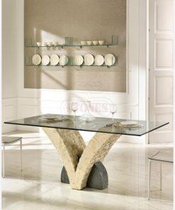 tavolo fisso in cristallo e pietra