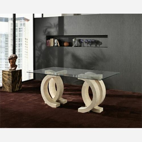 tavolo da pranzo in pietra bianco