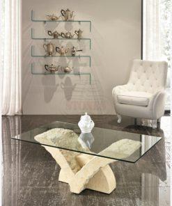 tavolino salotto cristallo pietra