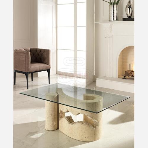 tavolino cristallo pietra
