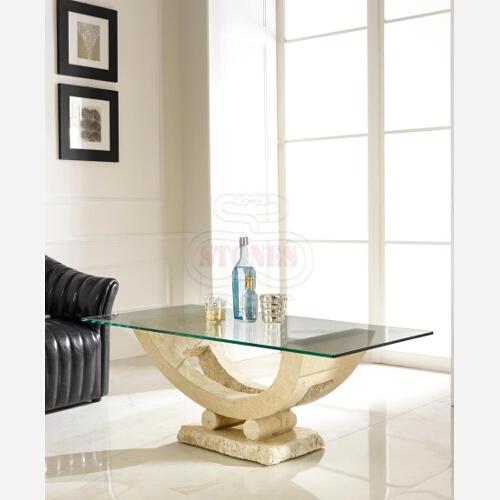 tavolino cristallo pietra bianca