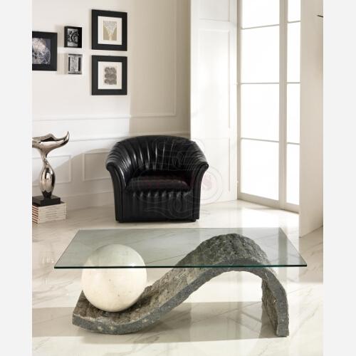 tavolino cristallo pietra design