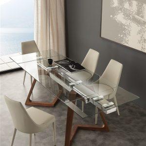 Tavolo allungabile in cristallo – Grigna