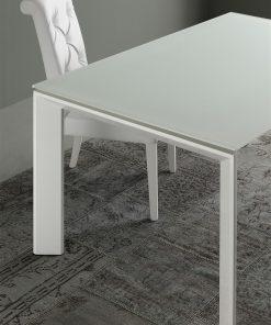 tavolo da cucina in cristallo allungabile diamante bianco
