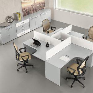 mobile da ufficio grigio e bianco